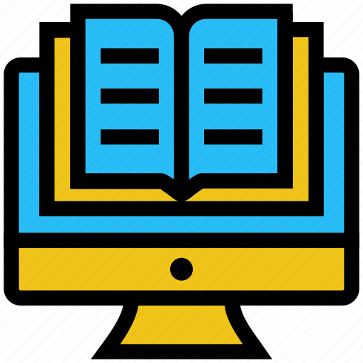 book, education, lcd, learning, monitor, online education, study icon
