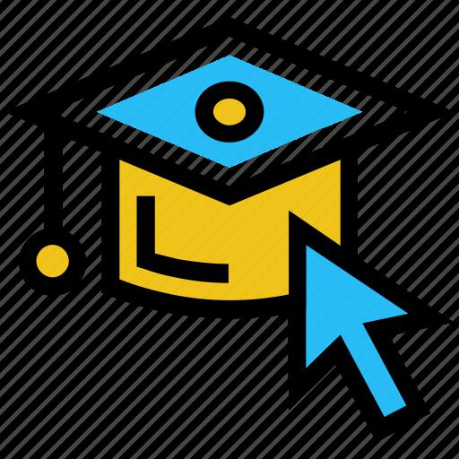 arrow, diploma, education, graduation cap, internet, online education icon