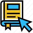 arrow, book, education, online education, ribbon, school, study icon