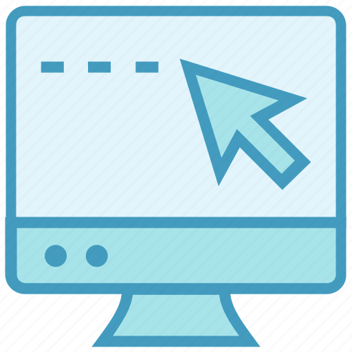 arrow, click, device, education, lcd, monitor, online education icon