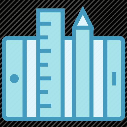 app, drawing, education, measurements, mobile, online education, ruler & pencil icon