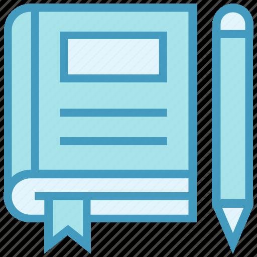 book, education, pencil, ribbon, school, study icon