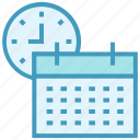 calendar, calendar clock, clock, education, schedule, school time icon