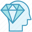 ability, capability, diamond, education, head, skills icon