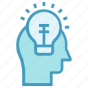 bulb, creative, education, head, idea, light, online education
