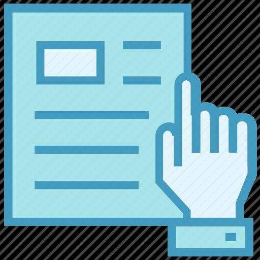 education, hand, paper, read, report, school icon