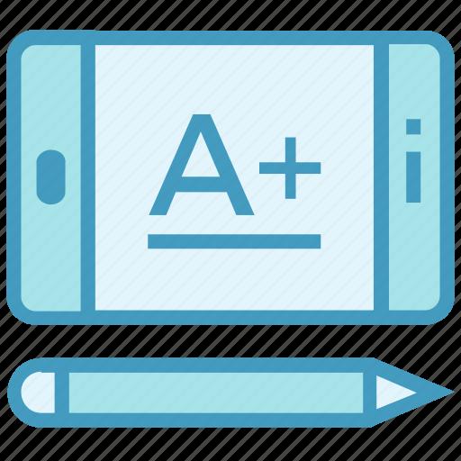 a+, education, formula, mobile, online education, pencil, school icon