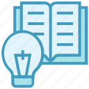 bulb, education, idea, light, online education, open book, reading icon