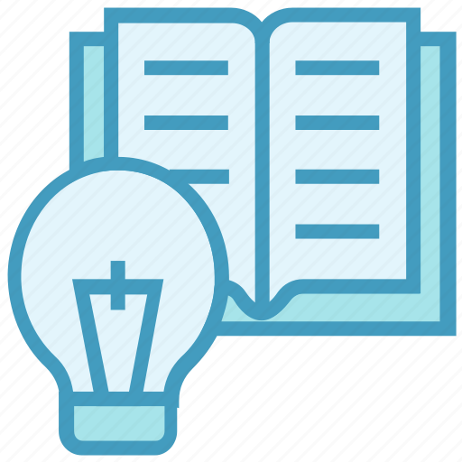 bulb, education, idea, light, online education, open book, reading icon