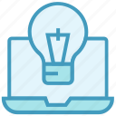 bulb, creative, education, idea, laptop, light, online education