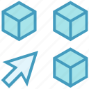 arrow, block, boxes, education, package, products icon