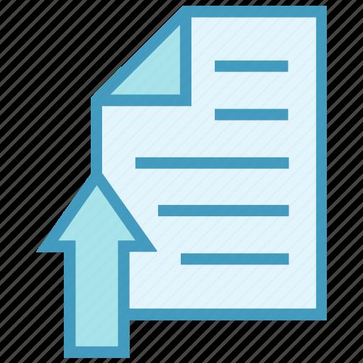 arrow, education, page, paper, school, sheet, upload icon