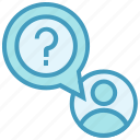 education, person, question mark, school, student, user icon