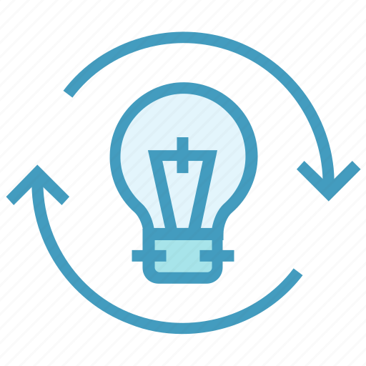 bulb, creative, education, idea, light, sync icon