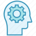 cogwheel, education, gear, head, intelligence, knowledge, setting