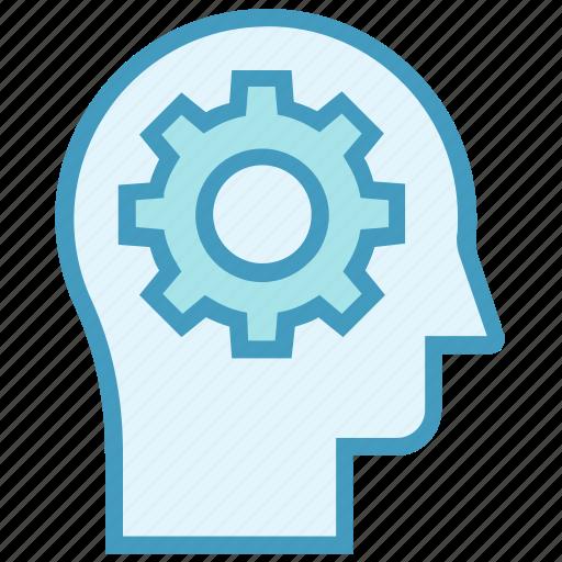 cogwheel, education, gear, head, intelligence, knowledge, setting icon