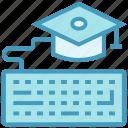 diploma, education, graduation cap, internet, keyboard, online education icon