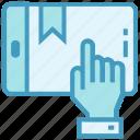 education, hand, internet, mobile, online education, ribbon, study icon