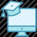 diploma, education, graduation cap, lcd, online education, study icon