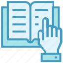 book, education, hand, learn, reading, school, study icon