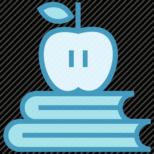 apple, books, education, knowledge, learn, literature, study icon