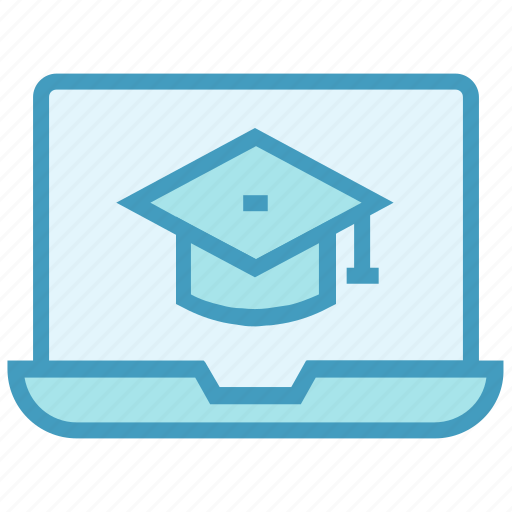 diploma, education, graduation cap, laptop, learning, master, online graduation icon