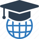 hat, global, education, student, cap icon