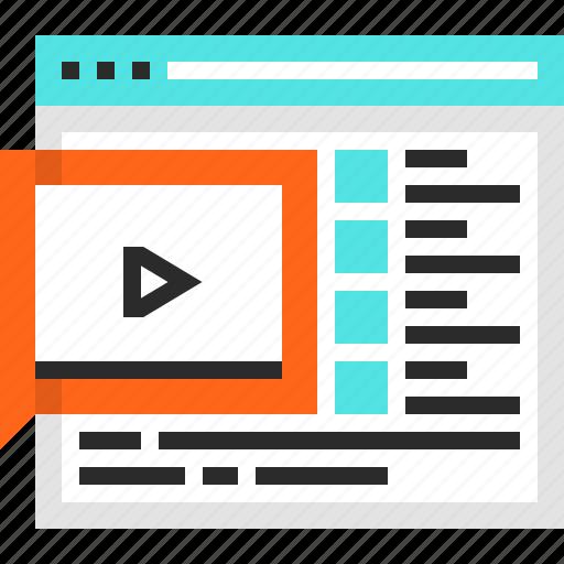 education, knowledge, lesson, online, video, web, webinar icon