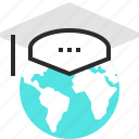 abroad, graduation, hat, internet, knowledge, online, study icon