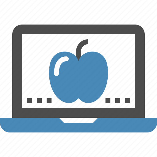 apple, digital, education, laptop, learning, online, study icon