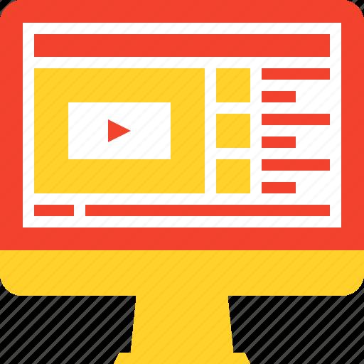 digital, education, knowledge, lesson, online, training, video icon
