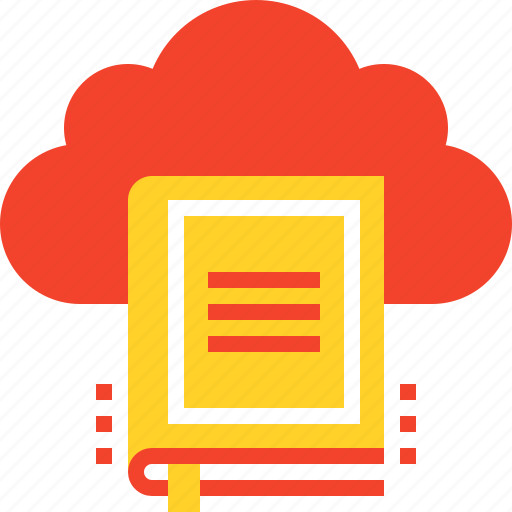 book, cloud, digital, education, internet, library, online icon