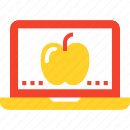 apple, digital, education, laptop, learning, online, study icon