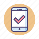 approved, checked, mobile access icon