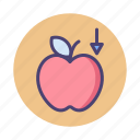 apple, gravity, physics icon
