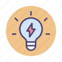 idea, knowledge, light bulb, power icon