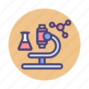 experiment, lab, microscope, research, science, test icon