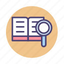 book, find, knowledge, search, study icon