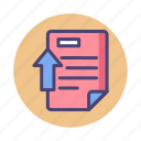 document, literature, upload icon