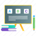 primary education, kindergarten education, writing board, writing easel, basic education icon