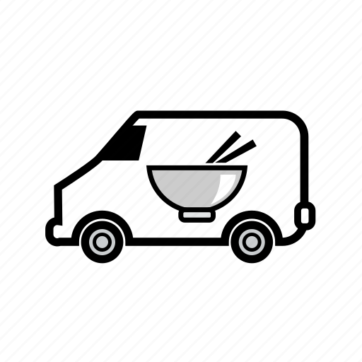 bowl, delivery, food, free delivery, online order, store, van icon