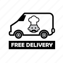 food, free deilvery, fresh food, online order, store, van icon