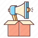 advertising, announcement, campaign, launch, loudspeaker, marketing icon
