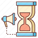 campaign, campaign period, campaign timing, hourglass, sand clock, timer, timing icon