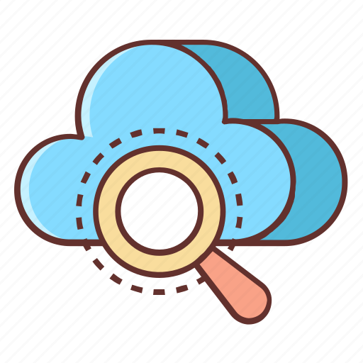 cloud, cloud computing, cloud database, cloud search, magnifying glass, search icon