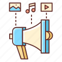content, marketing, loudspeaker, content marketing, advertising, channel icon