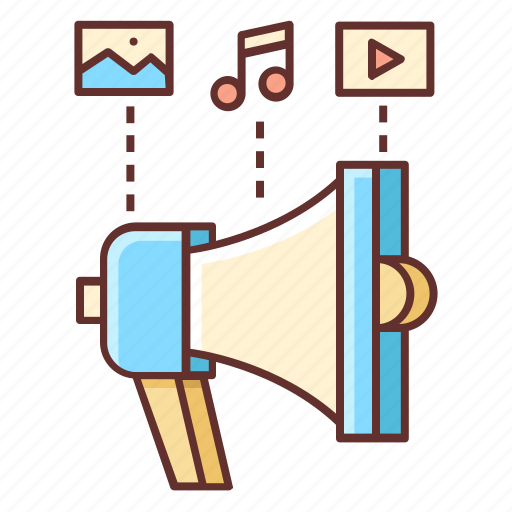Content, marketing, advertising, channel, content marketing, loudspeaker icon - Download on Iconfinder