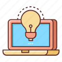campaign, creative, creative campaign, idea, laptop, light bulb icon