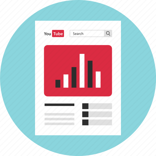 analytics, channel, chart, data, graph, report, youtube icon