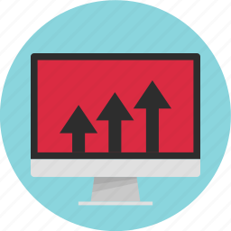 analytics, arows, channel, computer, going, up icon